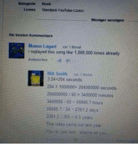 You sir just lied.: Kategorie Musik  Lizenz Standard-YouTube-Lizenz  Weniger anzeigen  Die besten Kommentare  Mason Lagart  vor 1 Monat  i replayed this song like 1,000,000 times already  Ant  tri  Bill Smith  vor 1 Monat  3:24 204 seconds  204 x 1000000 204000000 seconds  204000000 60 3400000 minutes.  3400000 60 56666.7 hours  56666.7 24 2361 2 days  23612 365 6 5 years  This video came out last year  You sir just ked shame on you You sir just lied.