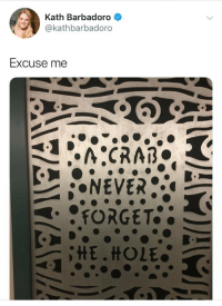 Hole, Excuse Me, and Excuse: Kath Barbadoro  @kathbarbadoro  Excuse me  FORGET  HE.HOLE
