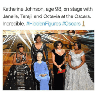 "KatherineJohnson, one of the NASA research mathematicians portrayed in the Oscar-nominated film ""Hidden Figures,"" received a standing ovation at the Academy Awards on Sunday. Johnson, portrayed in the movie by Taraji P. Henson, worked for NASA as a research mathematician for more than 30 years, according to NASA's website. Appearing at the Dolby Theatre, Johnson, now 98 years old, thanked the crowd for their support.Johnson was instrumental in Alan Shepard's journey to become the first American in space and in John Glenn's mission to become the first American to orbit the Earth. She, along with the other women of color in the program, dealt with segregation in Jim Crow-era Virginia where NASA's Langley Research Center was located. Johnson didn't anticipate the success she would find at NASA, telling the Los Angeles Times that she ""did what we were asked to do to the best of the ability."" ""I was just excited to have challenging work to do and smart people to work with,"" she said. Johnson has said she approves of her portrayal in the film.""Go see 'Hidden Figures,' and take a young person,"" she told the Los Angeles Times last month when asked how to get more women and people of color involved in STEM careers. ""It will give a more positive outlook on what is possible if you work hard, do your best and are prepared."" 17thsoulja BlackIG17th blackexcellenceinacting🎬: Katherine Johnson, age 98, on stage with  Janelle, Taraji, and Octavia at the Oscars.  Incredible  #Hidden Figures #Oscars 1 KatherineJohnson, one of the NASA research mathematicians portrayed in the Oscar-nominated film ""Hidden Figures,"" received a standing ovation at the Academy Awards on Sunday. Johnson, portrayed in the movie by Taraji P. Henson, worked for NASA as a research mathematician for more than 30 years, according to NASA's website. Appearing at the Dolby Theatre, Johnson, now 98 years old, thanked the crowd for their support.Johnson was instrumental in Alan Shepard's journey to become the first American in space and in John Glenn's mission to become the first American to orbit the Earth. She, along with the other women of color in the program, dealt with segregation in Jim Crow-era Virginia where NASA's Langley Research Center was located. Johnson didn't anticipate the success she would find at NASA, telling the Los Angeles Times that she ""did what we were asked to do to the best of the ability."" ""I was just excited to have challenging work to do and smart people to work with,"" she said. Johnson has said she approves of her portrayal in the film.""Go see 'Hidden Figures,' and take a young person,"" she told the Los Angeles Times last month when asked how to get more women and people of color involved in STEM careers. ""It will give a more positive outlook on what is possible if you work hard, do your best and are prepared."" 17thsoulja BlackIG17th blackexcellenceinacting🎬"