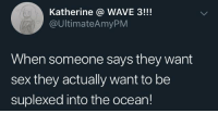 Suplexed: Katherine @ WAVE 3!!!  @UltimateAmyPM  When someone says they want  sex they actually want to be  suplexed into the ocean!
