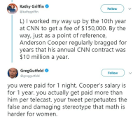 cnn.com, Anderson Cooper, and Math: Kathy Griffin  @kathygriffin  Follow  L) I worked my way up by the 10th year  at CNN to get a fee of $150,000. By the  way, just as a point of reference,  Anderson Cooper regularly bragged for  years that his annual CNN contract was  $10 million a year.  GregGutfeld  @greggutfeld  Follow  you were paid for 1 night. Cooper's salary is  for 1 year. you actually get paid more than  him per telecast. your tweet perpetuates the  false and damaqing stereotype that math is  harder for women. Kathy Griffin complains about her fee for hosting NYE telecast on CNN, tries to claim gender pay gap and gets shut down immediately.