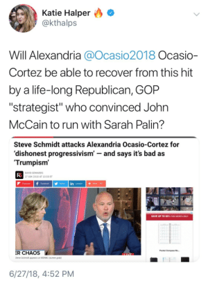 "Ass, Bad, and Facebook: Katie Halper O  @kthalps  Will Alexandria @Ocasio2018 Ocasio-  Cortez be able to recover from this hit  by a life-long Republican, GOP  ""strategist"" who convinced John  McCain to run with Sarah Palin?   Steve Schmidt attacks Alexandria Ocasio-Cortez for  'dishonest progressivism' - and says it's bad as  Trumpism'  FS  DAVID EDWARDS  27 JUN 2018 AT 10:50 ET  Flipboard  Facebook Twitter in Linkedin  SAVE UP TO 60% THIS MONTH ONLY  Pocket Compass Mo...  R CHAOS  Steve Schmidt appears on MSNBC (screen grab)  6/27/18, 4:52 PM odinsblog:  So this is one of the people MSNBC loves to elevate, pass the mic to, and basically parade around as an example of a ""good"" Republican? The guy who helped the GOP unleash Sarah Palin on American politics? And remember David Brock, the Republican who lied on, and tried to slut sham Anita Hill? LOL, he's yet *another* DNC surrogate, fundraiser, and trusted Clinton/DNC/DCCC insider.    https://www.nytimes.com/2001/06/27/us/book-author-says-he-lied-his-attacks-anita-hill-bid-aid-justice-thomas.html  LMAO, centrist Dems STAY tryna rehabilitate Republicans, even as they're busy attacking progressives. Republicans and corporate Democrats are allies united against a common foe: actual progressives. Establishment Democrats love Republicans and ""ex"" Republicans more than their own progressive base.   Not even a week after her victory, and the allegedly ""liberal"" network has already started attacking Alexandria Ocasio-Cortez. This is just mud slinging by centrists. It's corporate Dems trying to push their hopelessly flawed ""horseshoe theory"". Remember, it was centrist Democrats—not Republicans—who coined the phrase ""alt-left"" so that they could create a false equivalence with the alt-right.   Remember kids: ""centrists are 50 percent Republican and 25 percent 'former' Republican"" and that's 75 percent too much Republican for me.   Alexandria Osasio-Cortez is against literally EVERYTHING Trump represents. It's journalistic malpractice to suggest that they're even remotely the same. Republicans and centrist Democrats teaming up on cable tv to attack Alexandria Ocasio-Cortez is proof that the Fishhook theory is a lot more accurate than the Horseshoe theory.   I'm glad Ocasio kicked their sorry ass old white guy, Joseph what's-his-face, down the stairs."