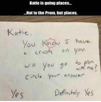 Memes, 🤖, and Answer: Katie is going place...  ...Not to the Prom, but places.  Katie  You Know I have  on you.  a Cru  o to prom  circle yovr answer  e s  Defnitely Yes 🤣Legendary
