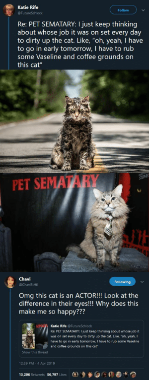 "Omg, Smell, and Tumblr: Katie Rife  Follow  FutureSchlock  Re: PET SEMATARY: I just keep thinking  about whose job it was on set every day  to dirty up the cat. Like, ""oh, yeah, I have  to go in early tomorrow, I have to rub  some Vaseline and coffee grounds on  this cat""   PET SEMATARY   Chavi  @ChaviStHill  Following  Omg this cat is an ACTOR!!! Look at the  difference in their eyes!!! Why does this  make me so happy???  772  Katie Rife @FutureSchlock  Re: PET SEMATARY: I just keep thinking about whose job it  was on set every day to dirty up the cat. Like, ""oh, yeah, I  have to go in early tomorrow, I have to rub some Vaseline  and coffee grounds on this cat  Show this thread  12:39 PM - 4 Apr 2019  13,206 Retweets 56,797 Likes  (e)乡參0 kitty-peach: blackqueerblog:  y'all smell this talent  I'd be pissed off too if I had vaseline and coffee grounds in my fur"