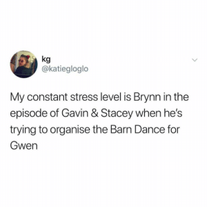 gavin and stacey: @katiegloglo  My constant stress level is Brynn in the  episode of Gavin & Stacey when he's  trying to organise the Barn Dance for  Gwen