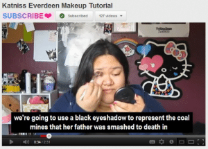Eyeshadow: Katniss Everdeen Makeup Tutorial  SUBSCRIBESubscribed 127 videos  we're going to use a black eyeshadow to represent the coal  mines that her father was smashed to death iin  0:34/2:31