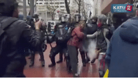 Want to see a psycho liberal protester get taken down by rubber bullets earlier today in Portland after threatening police? Of course you do! - The Patriot Federation: KATU 22  On Your Side Want to see a psycho liberal protester get taken down by rubber bullets earlier today in Portland after threatening police? Of course you do! - The Patriot Federation