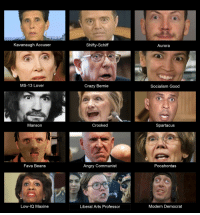 Crazy, Lawyer, and Pocahontas: Kavanaugh Accuseir  Shifty-Schif  Aurora  MS-13 Lover  Crazy Bernie  Socialism Good  Manson  Crooked  Spartacu:s  Fava Beans  Angry Communist  Pocahontas  Low-IQ Maxine  Liberal Arts Professor  Modern Democrat