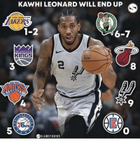 The last of your like is where Kawhi is going! Comment which team you got below 👇: KAWHI LEONARD WILL END UP  LOSANGELES  1-2  6-7  SACRRMENTO  KInGS  8  ME YORK  9  DEL  5  SLAMSTUDIOS The last of your like is where Kawhi is going! Comment which team you got below 👇