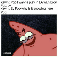 Nba, Pop, and Play: Kawhi: Pop I wanna play in LA with Bron  Pop: ok  Kawhi: Ey Pop why is it snowing here  Pop:  @NBAMEMES 😭😂