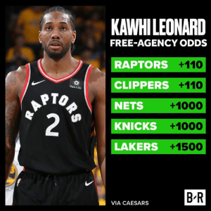 Kawhi's a hero at the parade today…but Vegas isn't sure he's coming back to The 6 👀: KAWHILEONARD  FREE-AGENCY ODDS  RAPTORS +110  CLIPPERS +110  Sun Life  HAPTO  2  NETS  +1000  KNICKS  +1000  LAKERS +1500  B R  VIA CAESARS  ORS Kawhi's a hero at the parade today…but Vegas isn't sure he's coming back to The 6 👀