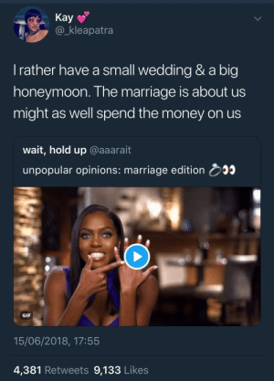 This is unpopular? Fuck the guests, treat yourselves by KingPZe FOLLOW HERE 4 MORE MEMES.: Kay  @_kleapatra  l rather have a small wedding & a big  honeymoon. The marriage is about us  might as well spend the money on us  wait, hold up @aaarait  unpopular opinions: marriage edition 5  GIF  15/06/2018, 17:55  4,381 Retweets 9,133 Likes This is unpopular? Fuck the guests, treat yourselves by KingPZe FOLLOW HERE 4 MORE MEMES.