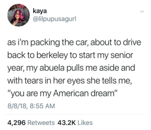 """Wholesome Grandma 🇺🇸: kaya  @lilpupusagurl  as i'm packing the car, about to drive  back to berkeley to start my senior  year, my abuela pulls me aside and  with tears in her eyes she tells me,  """"you are my American dream""""  8/8/18, 8:55 AM  4,296 Retweets 43.2K Likes Wholesome Grandma 🇺🇸"""