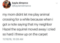 Meirl: kayla dimarco  @kaylamdimarco  my mom didnt let me play animal  crossing for a while because when i  got a note saying that my neighbor  Hazel the squirrel moved away i cried  so hard i threw up on the carpet  11/19/18, 10:28 AM Meirl