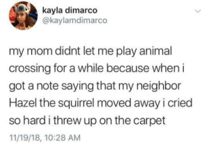 Meirl by MitenDewKing MORE MEMES: kayla dimarco  @kaylamdimarco  my mom didnt let me play animal  crossing for a while because when i  got a note saying that my neighbor  Hazel the squirrel moved away i cried  so hard i threw up on the carpet  11/19/18, 10:28 AM Meirl by MitenDewKing MORE MEMES