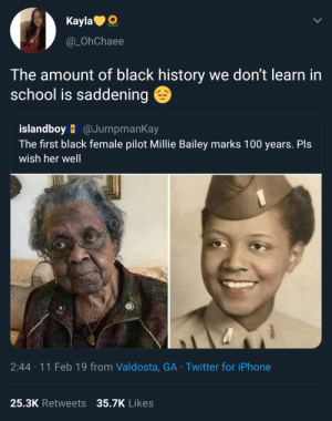 Millie Bailey, remember the name! by CatfishMerrington MORE MEMES: KaylaO  @_OhChaee  The amount of black history we don't learn in  school is saddening  islandboy @JumpmanKay  The first black female pilot Millie Bailey marks 100 years. Pls  wish her well  2:44 11 Feb 19 from Valdosta, GA Twitter for iPhone  25.3K Retweets 35.7K  Likes Millie Bailey, remember the name! by CatfishMerrington MORE MEMES