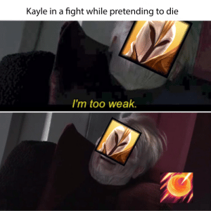 Every Kayle in every fight.: Kayle in a fight while pretending to die  I'm too weak. Every Kayle in every fight.