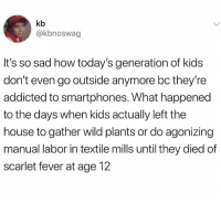 Addicted, House, and Kids: kb  @kbnoswag  It's so sad how today's generation of kids  don't even go outside anymore bc they're  addicted to smartphones. What happened  to the days when kids actually left the  house to gather wild plants or do agonizing  manual labor in textile mills until they died of  scarlet fever at age 12 If you're easily offended don't follow @storchlabs
