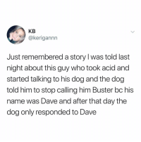 Memes, 🤖, and Art: KB  @kerigannn  Just remembered a story l was told last  night about this guy who took acid and  started talking to his dog and the dog  told him to stop calling him Buster bc his  name was Dave and after that day the  dog only responded to Dave Ugh I have to write art paper