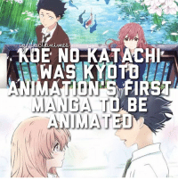 Anime, Facts, and Memes: KDE NOKATACHI  WAS KYOTB  ANIMATION FIRST  MANGA TD  BE  NIMATED Have you watched this? Follow @animee for Anime Facts! 💕 . . Credit @fact.animes