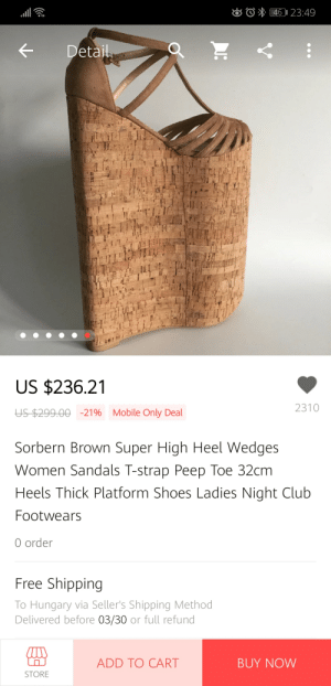 e5438ae91b4b74 KDetail US  23621 2310 US  29900 -21% Mobile Only Deal Sorbern Brown Super  High Heel Wedges Women Sandals T-Strap Peep Toe 32cm Heels Thick Platform  Shoes ...