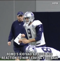 Tony Romo​'s son had the cutest reaction when he found out his dad wasn't going to play football anymore.: KDFW  ROMO's KID HAD A PRIGELESS  REACTION TO HIM LEAVING FOOTBALL Tony Romo​'s son had the cutest reaction when he found out his dad wasn't going to play football anymore.
