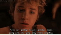 Memes, Peter Pan, and 🤖: kdlechnology I tumblr  Never say goodbye because goodbye means  going away and going away means forgetting. Peter Pan