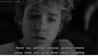 Memes, Peter Pan, and 🤖: kdtechnology I tumblr  Never say goodbye because goodbye means  going away and going away means forgetting. Peter Pan