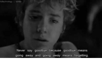 Memes, Peter Pan, and 🤖: kdtechnology I tumblr  Never say goodbye because goodbye means  going away and going away means forgetting. Peter Pan. ♡