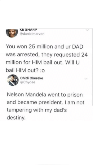 Dad, Destiny, and Memes: KE SHARP  @danielmarven  You won 25 million and ur DAD  was arrested, they requested 24  million for HIM bail out. Will U  bail HIM out? :o  Chidi Okereke  @Chydee  Nelson Mandela went to prison  and became president. I am not  tampering with my dad's  destiny. Hilarious via /r/memes https://ift.tt/2w2x7cE