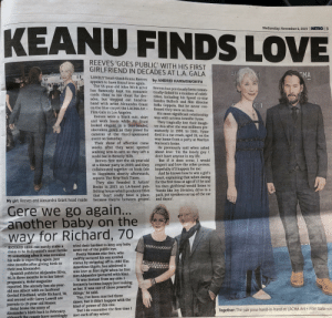 Af, Books, and Dating: KEANU FINDS LOVE  Wednesday, November 6, 2019  METRO 3  REEVES 'GOES PUBLIC' WITH HIS FIRST  GIRLFRIEND IN DECADES AT L.A. GALA  AF  MA  'LONELY' heart-throb Keanu Reeves  by ANDREI HARMSWORTH  appears to have found love again.  The 55-year-old John Wick actor  has famously kept his romantic  cards close to his chest for dec-  Reeves has previously been roman-  tically-linked to a number of celeb-  rities, including his Speed co-star  Sandra Bullock and film director  Sofia Coppola. But he never con-  firmed they were an item.  His most significant relationship  was with actress Jennifer Syme.  They tragically lost their daugh-  ter Ava after she was stillborn pre-  maturely in 1999. In 2001, Syme  died in a car crash, aged 28, on the  way home from a party at Marilyn  Manson's home.  ades, but stepped out hand-in-  hand with artist Alexandra Grant  on the blue carpet the LACMA Art+  Film Gala in Los Angeles.  Reeves wore a black suit, shirt  and work boots while Ms Grant  looked elegant in a blue-beaded,  sleeveless gown as they posed for  cameras at the Gucci-sponsored  event on Saturday  Their show of affection came  weeks after they were spotted  walking arm-in-arm as they left a  sushi bar in Beverly Hills.  Reeves first met the 46-year-old  at a dinner party in 2009, and they  collaborated together on book Ode  to Happiness shortly afterwards,  reports The New York Times.  They also founded X Artists'  Books in 2017, an LA-based pub-  lishing house which produces titles  that 'don't really have a place,  because they're between genres'.  C I  He previously said when asked  about love: T'm the lonely guy. I  don't have anyone in my life.  'But if it does occur, I would  respect and love the other person;  hopefully it'll happen for me.'  And he knows how to win a girl's  heart, explaining that when dating  for the first time at age of 17 he and  his then girlfriend would listen to  'bands like Joy Division, drive to a  park, put speakers on top of the car  and dance'  My girl: Reeves and Alexandra Grant head inside  Gere we go again...  another baby on the  way for Richard, 70  tried their hardest to keep any baby  news out of the public eye.  Pretty Woman star Gere, who  swiftly secured his sex symbol  status by stripping off in 1980 film  American Gigolo, has admitted it  was love at first sight when he first  met Alejandra (pictured with him).  'It was instant from my side. I  instantly became happy just looking  at her. It was one of those powerful  things,' he said.  'Yes, I've been married three  times, but it didn't happen with the  kind of power of this one.  'But I do remember the first time I  met each of my wives.  RICHARD GERE can surely stake a  claim to be Hollywood's most fertile  70-something after it was revealed  his wife is expecting again, just  nine months after giving birth to  their son Alexander.  Spanish publicist Alejandra Silva,  36, is three months in to her latest  pregnancy, Hola! magazine  reported. She already has six-year-  old son Albert with ex-husband  Govind Friedland, while Richard, 70,  and second wife Carey Lowell are  parents to 19-year-old Homer.  Hola! broke the story of  Alexander's birth back in February,  although the couple have seemingly  Together: The pair pose hand-in-hand at LACMA Art + Film Gala FILM Let's go Keanu!