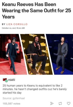 Keanu Reeves: Keanu Reeves Has Been  Wearing the Same Outht for 25  Years  BY LIZA CORSILLO  October 10, 2017 8:00 AM  COLL  amazons  dios  ION  МОЛ  ama  CO ER  mialti  25 human years to Keanu is equivalent to like 2  minutes. he hasn't changed outfits cuz he's barely  started his day  Source: gyllenhaal  165,587 notes Keanu Reeves