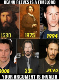 Memes, Argument Is Invalid, and 🤖: KEANU REEVES IS A TIMELORD  1875 1994  1530  2011  YOUR ARGUMENT IS INVALID  008  2015