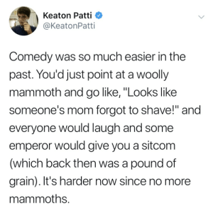 """Comedy, Mom, and Back: Keaton Patti  @KeatonPatti  Comedy  was so much easier in the  past. You'd just point at a woolly  mammoth and go like, """"Looks like  someone's mom forgot to shave!"""" and  everyone would laugh and some  emperor would give you a sitcom  (which back then was a pound of  grain). It's harder now since no more  mammoths."""