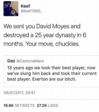 That comeback 😂: Keef  @keef1985  We sent you David Moyes and  destroyed a 25 year dynasty in 6  months. Your move, chuckles.  Gaz @CantonaManc  13 years ago we took their best player, now  we've slung him back and took their current  best player. Everton are our bitch.  09/07/2017, 09:51  16.6K RETWEETS 27.2K LIKES That comeback 😂