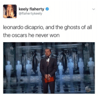 (@memes): keely flaherty  @flaherty keely  leonardo dicaprio, and the ghosts of all  the oscars he never won (@memes)