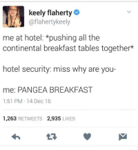 Breakfast, Hotel, and All The: keely flaherty  @flahertykeely  me at hotel: *pushing all the  continental breakfast tables together*  hotel security: miss why are you-  me: PANGEA BREAKFAST  1:51 PM 14 Dec 16  1,263 RETWEETS 2,935 LIKES