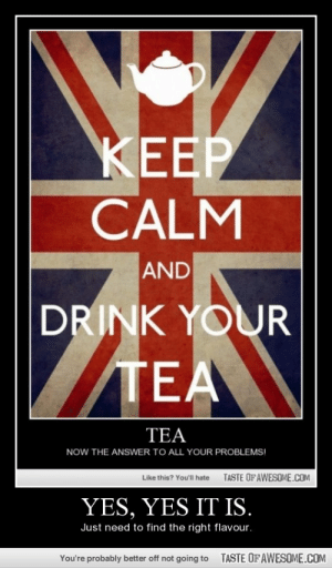 Yes, Yes It Is.http://omg-humor.tumblr.com: KEEP  CALM  AND  DRINK YOUR  TEA  TEA  NOW THE ANSWER TO ALL YOUR PROBLEMS!  TASTE OFAWESOME.COM  Like this? You'll hate  YES, YES IT IS.  Just need to find the right flavour.  TASTE OFAWESOME.COM  You're probably better off not going to Yes, Yes It Is.http://omg-humor.tumblr.com