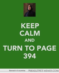 """Memes, Http, and Keep Calm: KEEP  CALM  AND  TURN TO PAGE  394  Banned in 0 countries  MUGGLENET MEMES.COM <p>Page 394 <a href=""""http://ift.tt/15znlI5"""">http://ift.tt/15znlI5</a></p>"""
