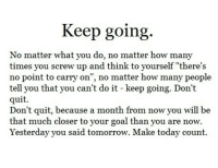 "Screw Up: Keep going.  No matter what you do, no matter how many  times you screw up and think to yourself ""there's  o point to carry on"", no matter how many people  tell you that you can't do it - keep going. Don't  quit  Don't quit, because a month from now you will be  that much closer to your goal than you are now.  Yesterday you said tomorrow. Make today count."