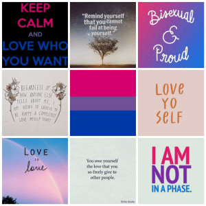 """Fail, Lgbt, and Love: KEEP  """"Remind yourself  that you cannot  fail at being  AND  - yourself.  LOVE WHO  YOU WANT  Wayhe Dyer  Proud  Love  SeLF  AM  REG ARDLESS OF  HOW ANY ONE ELS  FEELS ABOUT ME  M GOING TO CHOOSE TO  BE HAPPY&COMPLETELY  LOVE MYSELF TODAY  LOVE  I S  You owe yourself  the love that you  so freely give to  other people.  NOT  IN A PHASE.  fb/the idealist lgbt-mood:  Bisexual with self acceptance themes for anon-(helper Zoe)"""