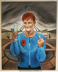 Queensland's One Nation senator Pauline Hanson has dominated the entries in this year's Bald Archy art prize.  There were so many portraits of Ms Hanson selected among the finalists, that the Watson Art Gallery, where the prize shows, had to dedicate an entire corner to her image.  The Bald Archy Prize has been running for 23 years and Ms Hanson has featured regularly since launching her political career in 1995.  More pics here - http://www.abc.net.au/news/2017-02-10/pauline-hanson-dominates-entries-of-bald-archy-prize/8260148.: KEEP SOCIAL DEMOCRACY in AUSTRALIA f/b Queensland's One Nation senator Pauline Hanson has dominated the entries in this year's Bald Archy art prize.  There were so many portraits of Ms Hanson selected among the finalists, that the Watson Art Gallery, where the prize shows, had to dedicate an entire corner to her image.  The Bald Archy Prize has been running for 23 years and Ms Hanson has featured regularly since launching her political career in 1995.  More pics here - http://www.abc.net.au/news/2017-02-10/pauline-hanson-dominates-entries-of-bald-archy-prize/8260148.
