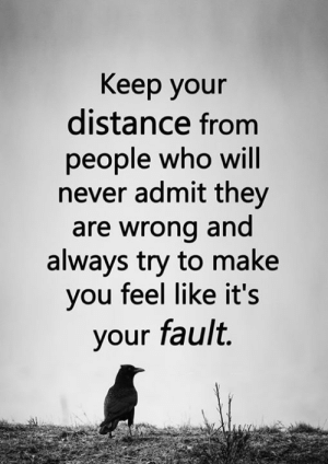 Memes, Never, and 🤖: Keep your  distance from  people who will  never admit they  are wrong and  always try to make  you feel like it's  your fault. <3