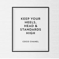 Chanel: KEEP YOUR  HEELS,  HEAD 8  STANDARDS  HIGH  COCO CHANEL