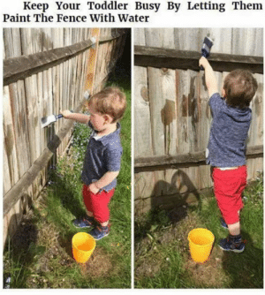 Or the sidewalk, or the bricks ... this is brilliant!  (credit unknown): Keep Your Toddler Busy By Letting Them  Paint The Fence With Water Or the sidewalk, or the bricks ... this is brilliant!  (credit unknown)