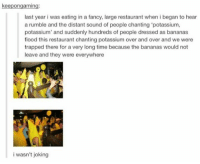 Rumblies: keepongaming:  last year i was eating in a fancy, large restaurant when i began to hear  a rumble and the distant sound of people chanting 'potassium,  potassium' and suddenly hundreds of people dressed as bananas  flood this restaurant chanting potassium over and over and we were  trapped there for a very long time because the bananas would not  leave and they were everywhere  i wasn't joking