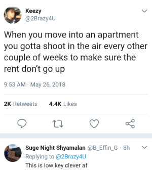 Af, Low Key, and Lpt: Keezy  @2Brazy4U  When you move into an apartment  you gotta shoot in the air every other  couple of weeks to make sure the  rent don't go up  9:53 AM May 26, 2018  2K Retweets4.4K Likes  Suge Night Shyamalan @B_Effin G 8h  Replying to @2Brazy4U  This is low key clever af LPT: how to keep your rent from rising.