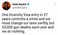 America, Crime, and Change: Keith Boykin  @keithboykin  One Diversity Visa entry in 27  years commits a crime and we  must change our laws swiftly, but  33,000 gun deaths each year and  we do nothing. (W) Can we start with calling NRA - National Rifle Association of America a terrorist organization?