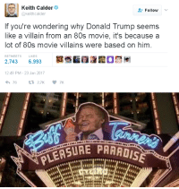 "80s, Donald Trump, and Gif: Keith Calder  @keithcalder  Follow  If you're wondering why Donald Trump seems  like a villain from an 80s movie, it's because a  lot of 80s movie villains were based on him  RETWEETS  LIKES  2,743 6,993  12:49 PM-23 Jan 2017   STIRE PARADIS <p><a href=""https://wiselwisel.com/post/171965802325/si-donald-trump-parece-un-villano-de-peli-de-los"" class=""tumblr_blog"">wiselwisel</a>:</p><blockquote> <h2><i>Si Donald Trump parece un villano de peli de los 80s es porque muchos villanos de pelis de los 80s están basados en él.</i></h2> <figure class=""tmblr-full"" data-orig-height=""1200"" data-orig-width=""1600""><img src=""https://78.media.tumblr.com/6ef514bd49b43ccaad0bf05e730080ca/tumblr_inline_p5pfldov4g1r63chl_540.gif"" data-orig-height=""1200"" data-orig-width=""1600""/></figure></blockquote> <h2>En los 80 ya se lo podían imaginar</h2>"