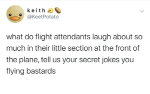Flying: keith  @KeetPotato  what do flight attendants laugh about  much in their little section at the front of  the plane, tell us your secret jokes you  flying bastards